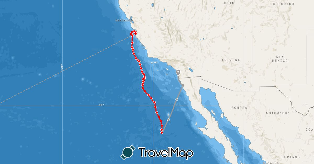 TravelMap itinerary: rowing, tow, destination in United States (North America)